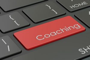 coaching, red hot key on keyboard, 3D rendering